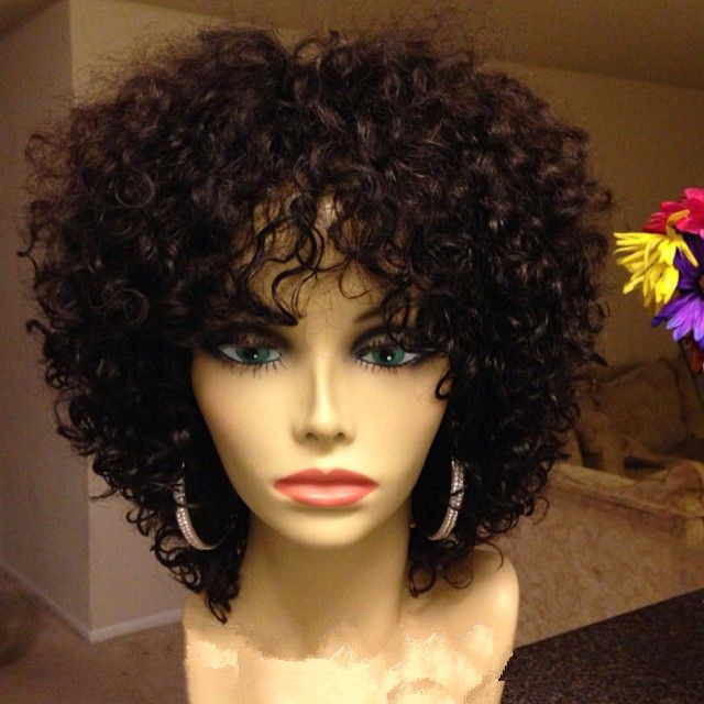 DHL free shipping kinky curly  Brazilian virgin human hair full lace wig&amp; lace front wig for black women<br><br>Aliexpress