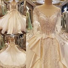 Buy 2017 Robe De Mariage Princess Luxury Crystals Appliques Bead White Wedding Dress Real Picture Long Train Vestido De Noiva for $380.36 in AliExpress store