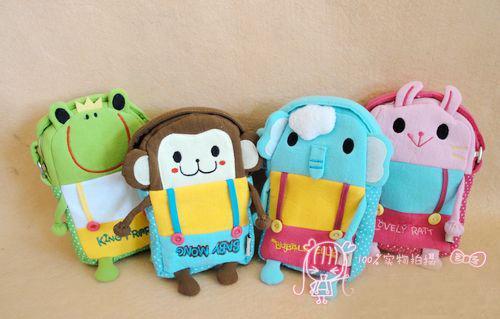 2016 New Korean OEM Small kids Cotton Messenger Cross body bag Camara Cup case Elephant Rabbit Monkey girls boy baby gift C069(China (Mainland))