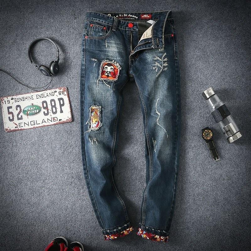 Скидки на Бренд Одежды Мужские Джинсы Лоскутное Отверстие Модные Брюки Плюс Размер