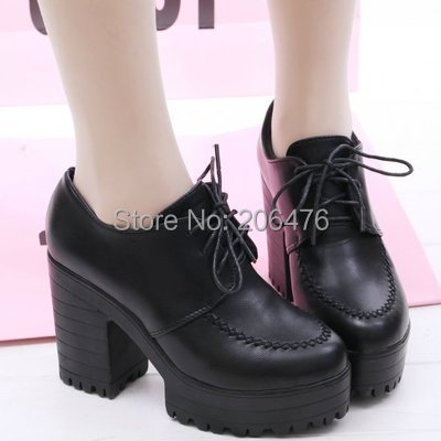 Women's pumps!New 2014 women's spring shoes high heels single shoes thick heel platform shoes black high-heeled shoes