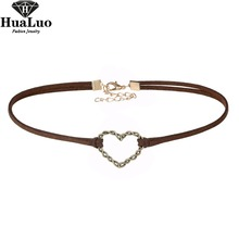 HUALUO New Fashion Red Blue Coffee Colors Velvet Choker Necklace Heart Necklaces For Women Girls Jewelry NW3477(China (Mainland))