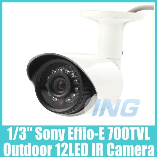 "Outdoor Waterproof CCTV Camera 1/3"" SONY Effio-E 700TVL Video Security Camera 12 LED IR Night Vision Bullet Camera Cam System(China (Mainland))"