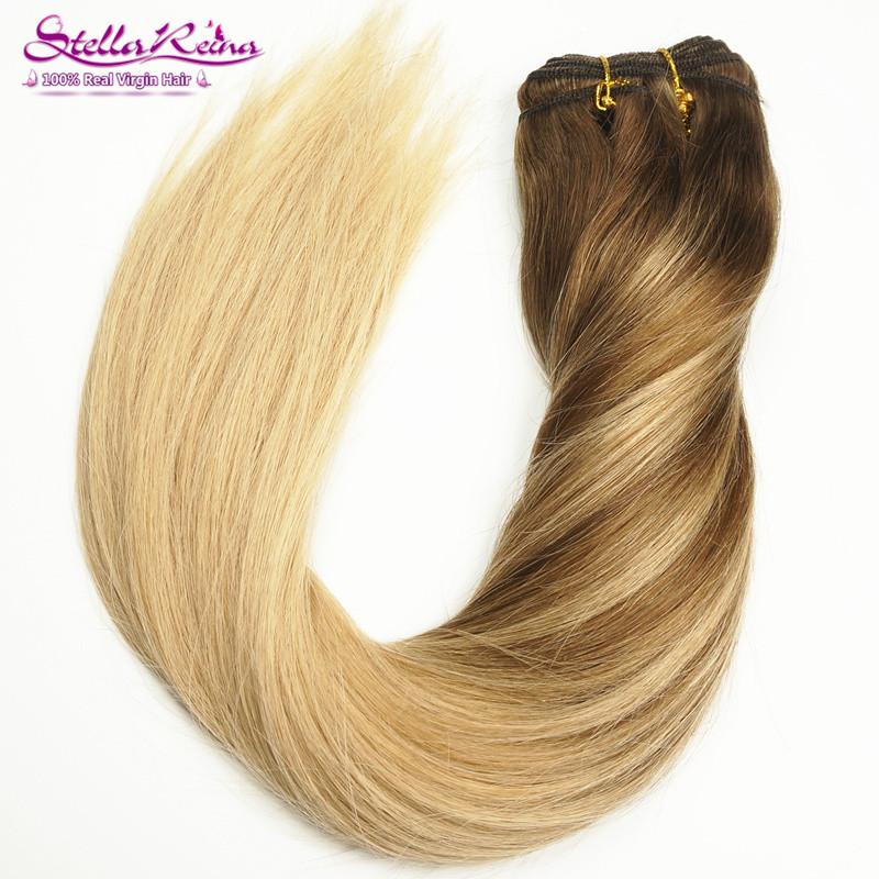 Фотография Balayage Ombre Highlights Blonde Hair Weaves Dark Roots #4/(4/18)/18 Brazilian Silky Straight Remy Human Hair Extension 3 Pcs