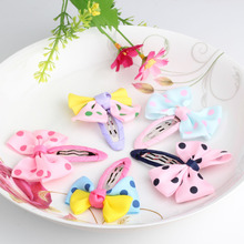 Hot Sale Bow Hairpins Lovely Dot Kids Scrunchy Bowknot Shape With Dots 17 Colors Children Hair Accessories Girls Hair Clip