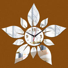 2015 direct selling plum new Acrylic wall clocks 3d stickers diy vintage mirror Quartz clock modern design watch home decor