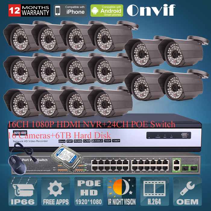 6TB HDD 24CH POE Switch 16CH NVR H.264 Video Surveillance System Onvif 2.0 Megapixel 1080P HD 48IR Outdoor Network POE IP Camera(China (Mainland))