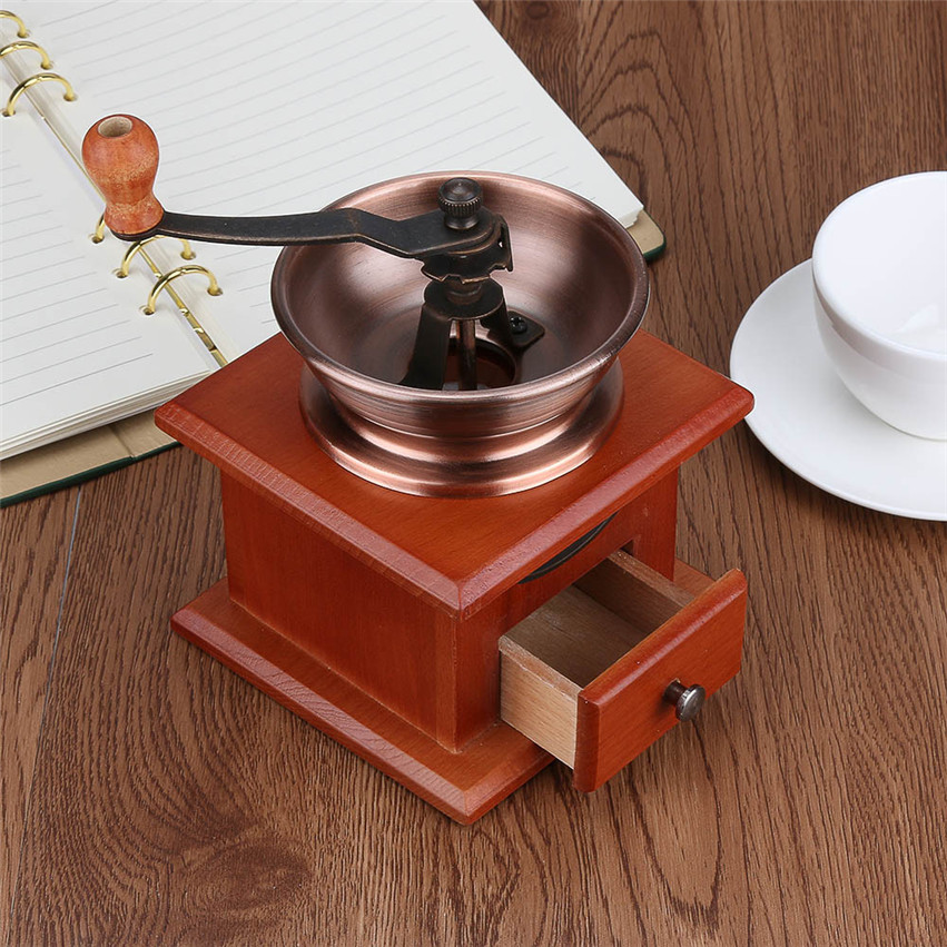 Zero Manual Retro Coffee Bean Powder Grinder Mill Hand Adjustable Wood Steel Core 170429(China (Mainland))