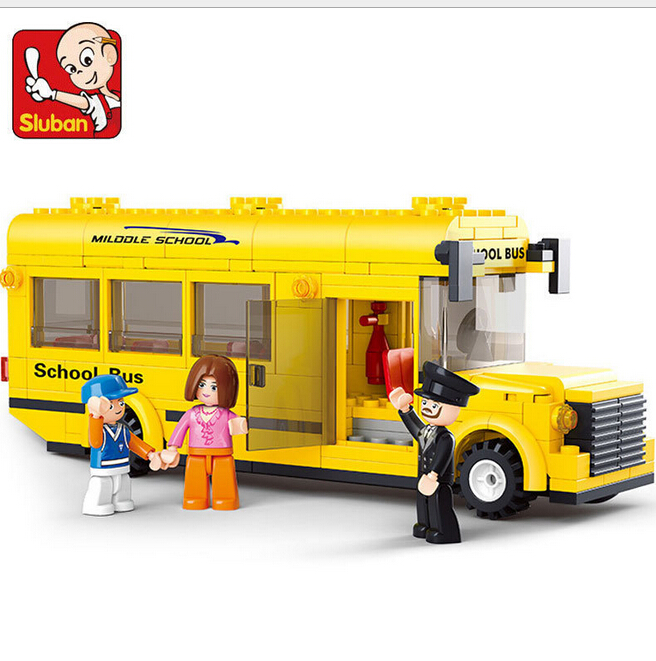 SLUBAN 218Pcs Mini Yellow School Bus Building Block Kids Educational Toys Compatible with legodt(China (Mainland))