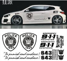 HOT selling!! Personalized modification car styling super cool police 911 car sticker /car decal free shipping(China (Mainland))