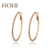 Roxi Fashion Jewelry High Quality Rose Gold Plated Filled Clear Elegant Shining Austrian Crystals Hoop Ladies Earrings(China (Mainland))