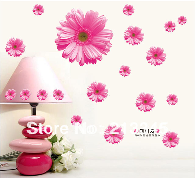 [Saturday Mall] - Romantic daisy flowers pink warm living room bedroom wall stickers home decor decals removable 6409