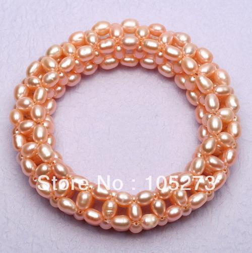 Mother's Day Gift Pearl Jewelry AAA 4-5MM Pink Rice Shape Natural Freshwater Pearl Stretchy Bracelet 7.5'' Top Quality Hot Sale
