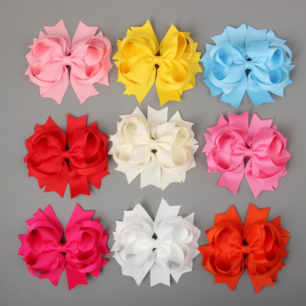 "4.5"" Solid Stacked Spike Hair Bows Hairbows Clips Mix COLOR 9 pcs in 9 color(China (Mainland))"