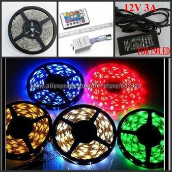 5M Waterproof RGB 5050 MulitColor SMD Flexible LED Strip 12V 150 Leds+24 IR Remote Controller+3A power