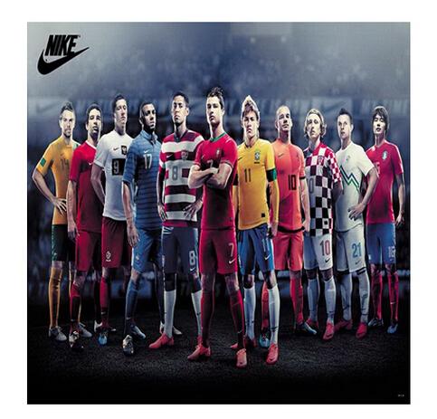 Cool Poster Custom All star Neymar Ronaldo Soccer Football Team 50x76 cm Classical Stylish Free Shipping Wall Sticker U1-732(China (Mainland))