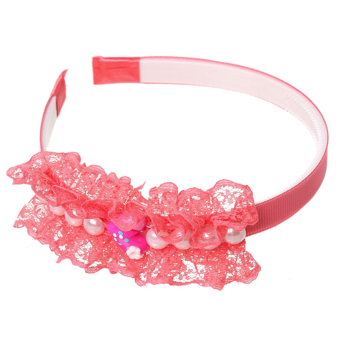 "Acrylic Headband Heart Watermelon Red Flower With White Pearl Imitation 37.2cm(14 5/8"")x 12mm(4/8""),3 PCs 2015 new(China (Mainland))"