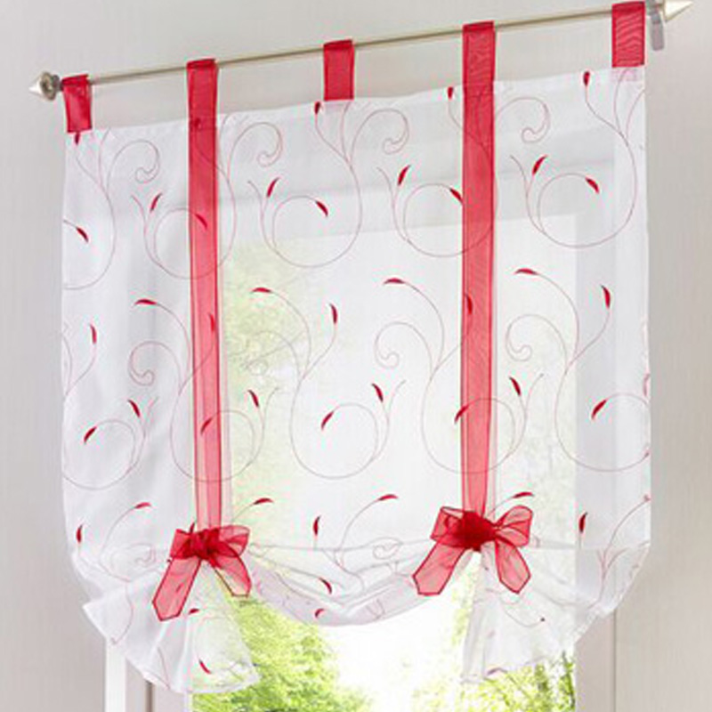 Roman shade European embroidery style tie up window curtain kitchen curtain voile sheer tab top window cortinas(China (Mainland))
