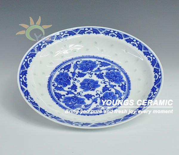 8'' Rice pattern blue and white porcelain peony dish plate(China (Mainland))