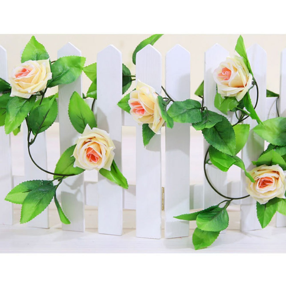 4 Colors 2 5M Artificial Rose Garland Flower Vine Ivy Home Wedding Garden Floral Decor Decorative