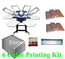 FAST and FREE shipping! 6 color 6 station silk screen printing kit t-shirt printer press equipment stretched frame squeegee