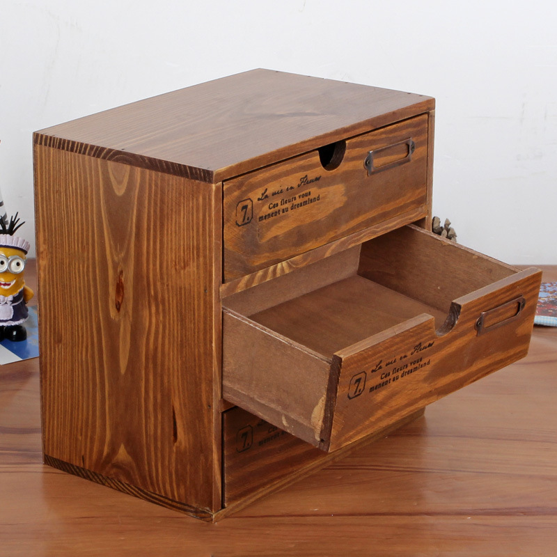 Storage Cabinet Storage Box Desktop Finishing Showcase Wooden Crafts Desktop Storage Box Household Storage Hot(China (Mainland))