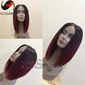 7A Grade Lace Front Human Hair Wigs U part wigs Ombre 1BTBurgundy Human Hair Bob Wigs
