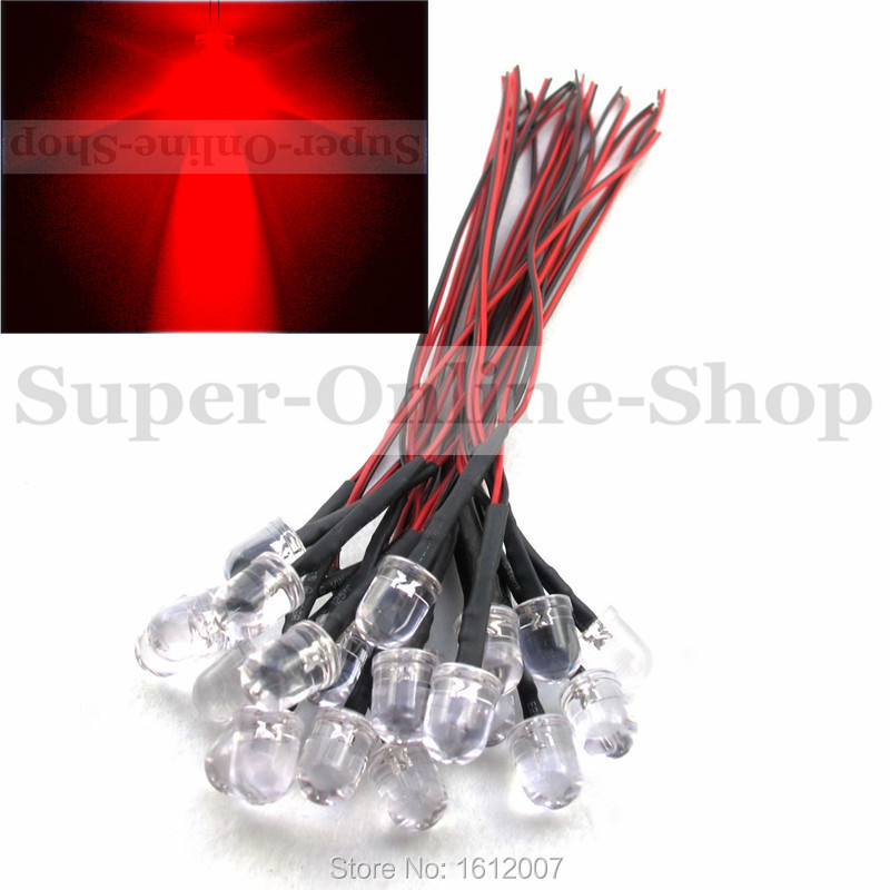 20 pcs Red 10MM Led 5V 6V 7V DC 20CM Emitting Diode Pre wired Round Top Color Led Lamp Light For car DIY project(China (Mainland))