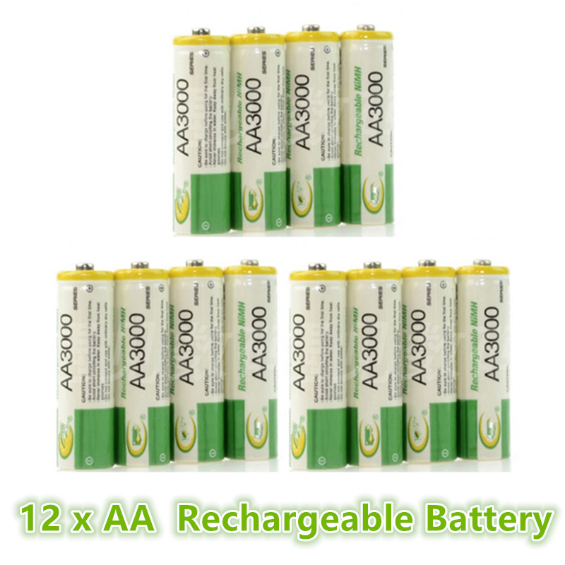 AA 3000 Battery 1.2V Ni-MH Rechargeable Battery for LED Flashlight/Toy/PDA - B 12PCS/Lot(China (Mainland))