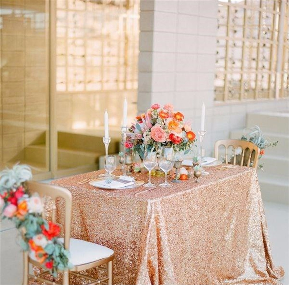 """Sequin Tablecloth Wedding Cake Tablecloth ,Rectangle /square Sequins Table Linen , wedding sequin table linens 50""""X50""""Rose Gold(China (Mainland))"""