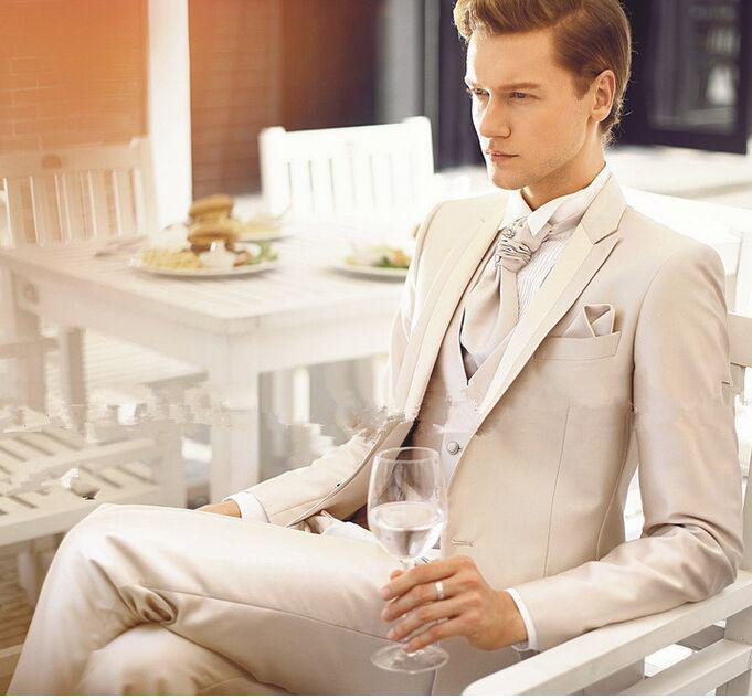 2016 New Custom Made Handmade Beige Mens Slim Fit Suits Wedding Groom Bridal Tuxedos Formal Occasion Party Stylemakerz Online