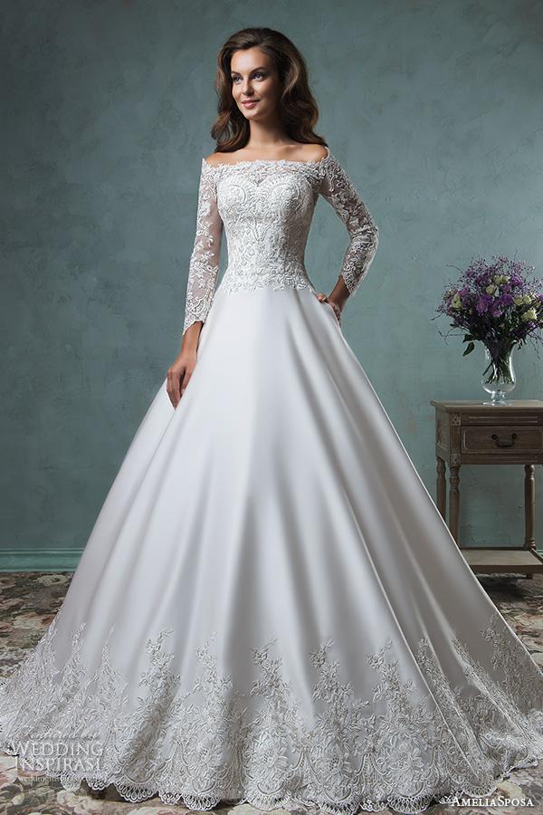Zy183 elegant long white wedding dresses 2015 boat neck for Boat neck long sleeve wedding dress