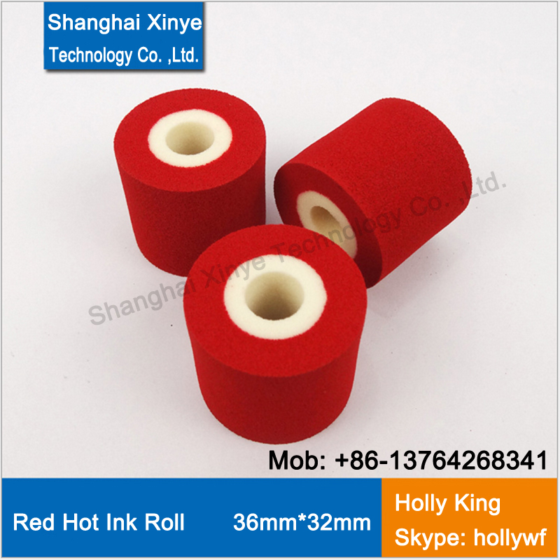 Red 36mm 32mm hot ink rolls roller, hot ink stamping for date coding printer machine from xinye tec(China (Mainland))
