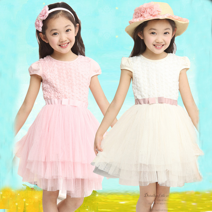 2014 new childrens clothing girls summer dress princess dress children dress childrens dress floral veil<br><br>Aliexpress