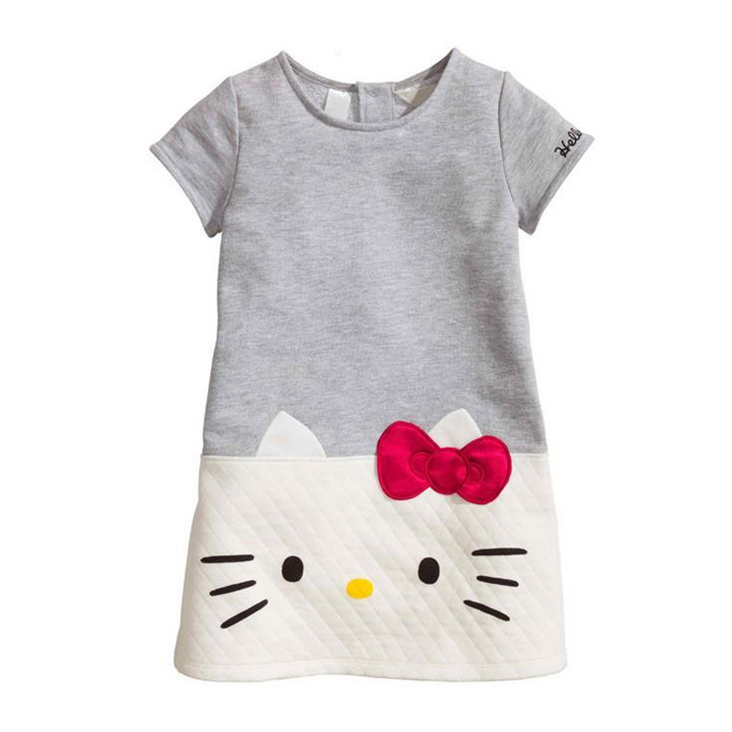 HOT Baby Girls Dresses Hello Kitty 2017 Brand Children Dresses For Girls Princess Dress Christmas Kids Clothes(China (Mainland))