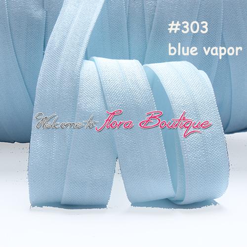 "Wholesale fold over elastic, 5/8"" blue vapor #303 elastic ribbon, wholesale elastic for hair accessories(China (Mainland))"