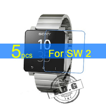 5pcs Ultra Clear LCD Screen Protector Film Cover For Sony SmartWatch 2 SW2 Protective Film + cloth