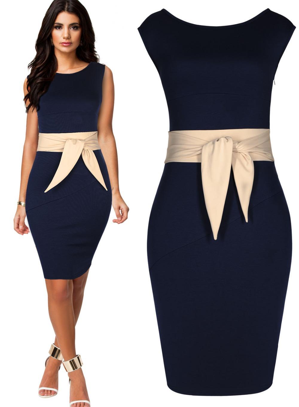 Buy Xs Xxl New Elegant Knee Length Ol Fashion Dress Peplum Sashes Bodycon 2014