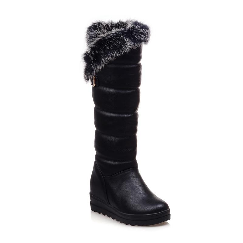 Snow Boots 2016 Big Size 34-42 Fashion Women Warm Boots wedges Heels Round Toe Platform Winter Fur black white red boots<br><br>Aliexpress