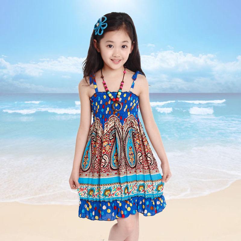 New Children's Girls Child Korean Fashion Ideas Flower Beach Dress Blue Rose Red(China (Mainland))