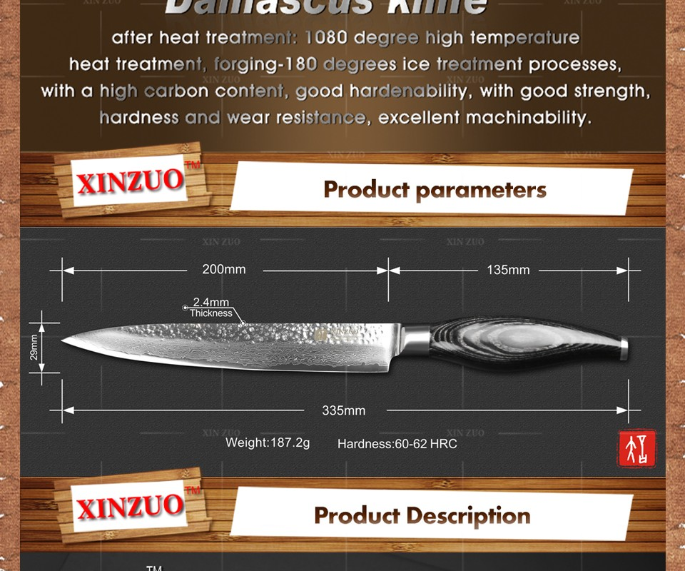 "Buy XINZUO 8"" inch cleaver knife Japanese Damascus kitchen knife woman chef knife Color wood handle high quality sharp free shipping cheap"