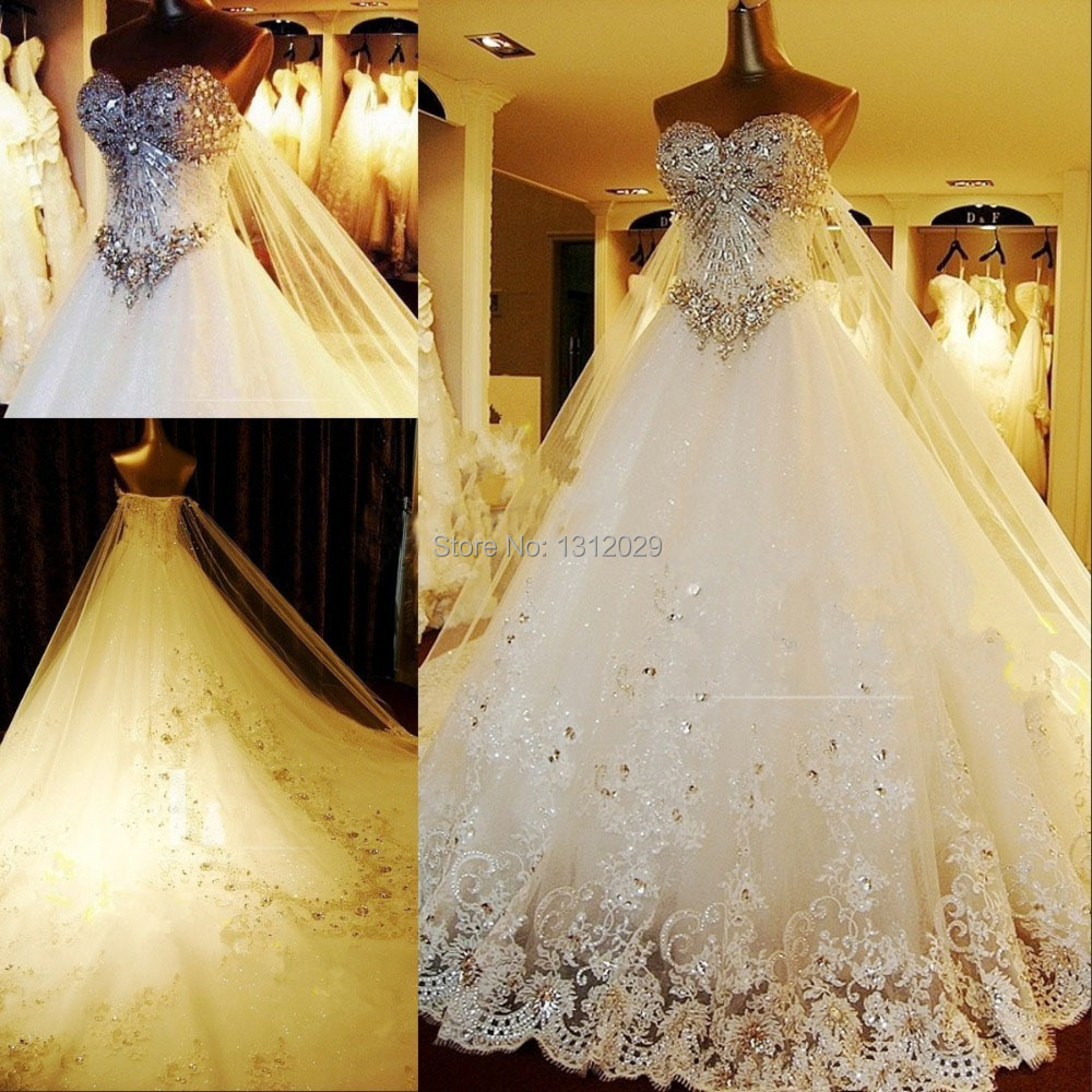 Gorgeous amazing bling lace appliques sweetheart back new for Designer ball gown wedding dresses