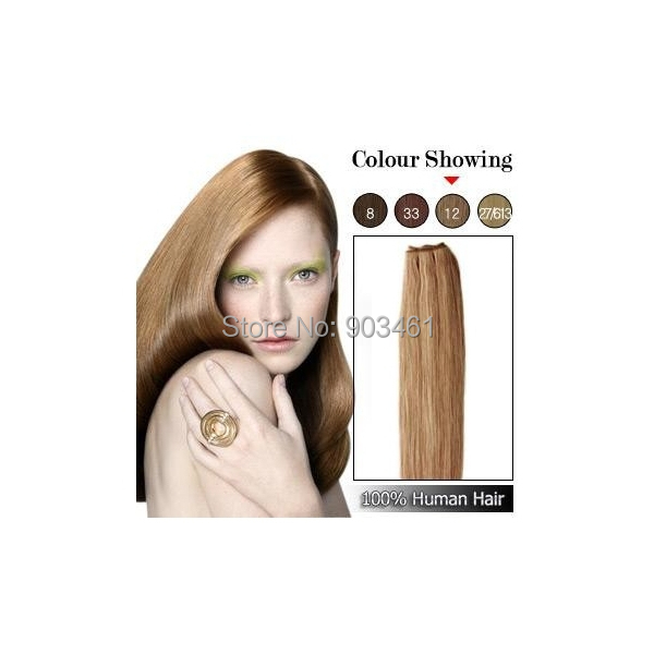 High Quality Remy Real Hairpiece 100g/pc 18-30 Inch No Tangling Shedding Straight Remy Brazilian Hair Weft Light Golden Brown(China (Mainland))