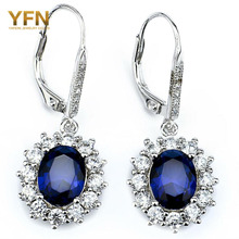 YFN Fine Jewelry 925 sterling silver Drop Earrings jewelry earrings with Blue Sapphire CZ Crystal Earrings For Women Brincos(China (Mainland))