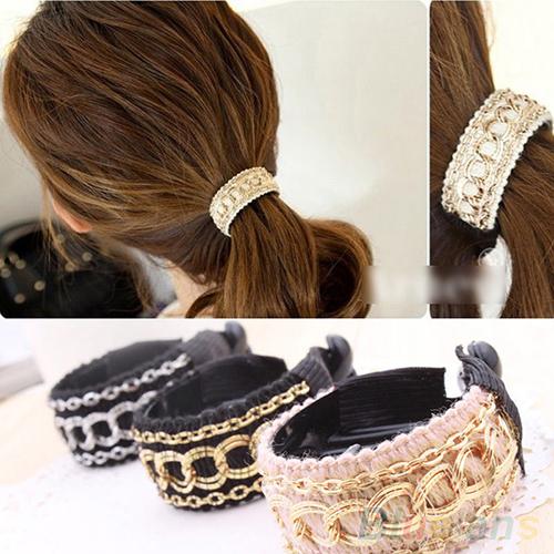 Fashionable Luxury Cute Women Gold Chain Hair Clip Hair Barrette Ponytail Holder 4D7C 7EGC 7SXK(China (Mainland))