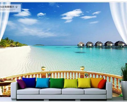 Nice Wall Paper Murals #1: Mega-3d-landscape-wallpaper-murals-TV-background-wallpaper-mural-seascape-Maldives-islands.jpg