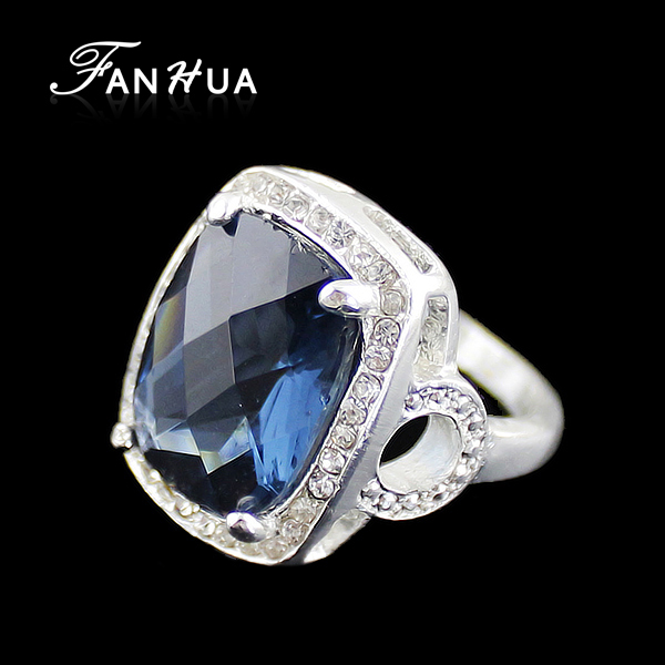 2015 Sapphire Jewelry Fashion Blue Created Gemstone Wedding Rings and Engagement Rings for Women (China (Mainland))