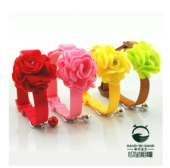 1cm Fashion color roses Lively Dog & Cat Suede Roses Collar Buckle Style collars (4 colors) 9pcs/lot Free shipping CPB1550(China (Mainland))