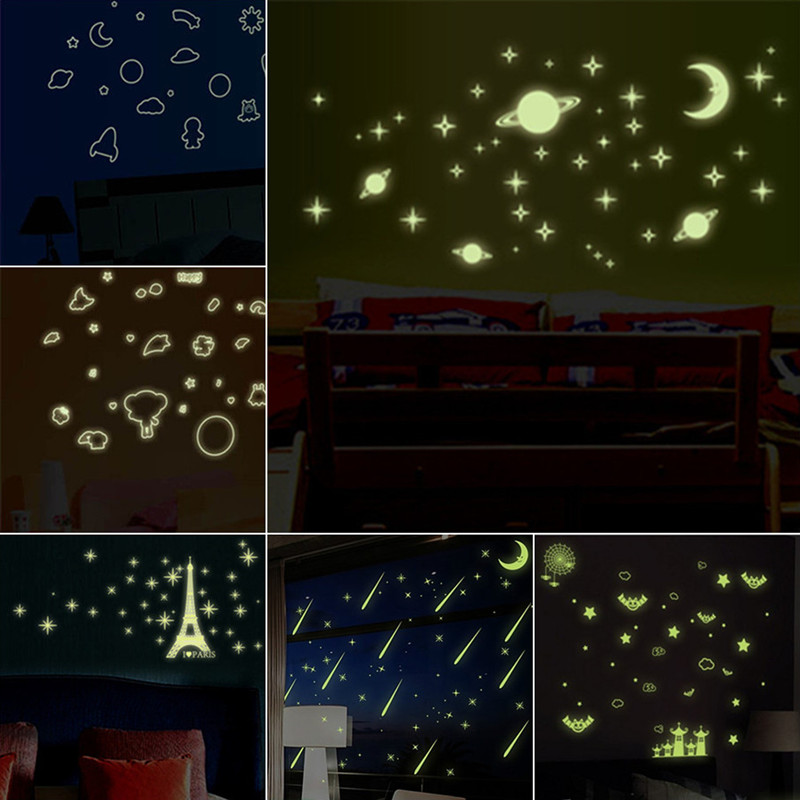 Universe Starry luminous stickers Planet Star Moon glow in the dark fluorescent decals room decoration kids cartoon wallpapers(China (Mainland))