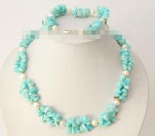 free shipping 07794 chip green jade stone white pearls necklace bracelet set hot(China (Mainland))